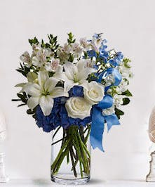 A tranquil melody of sky blue & pure white flowers