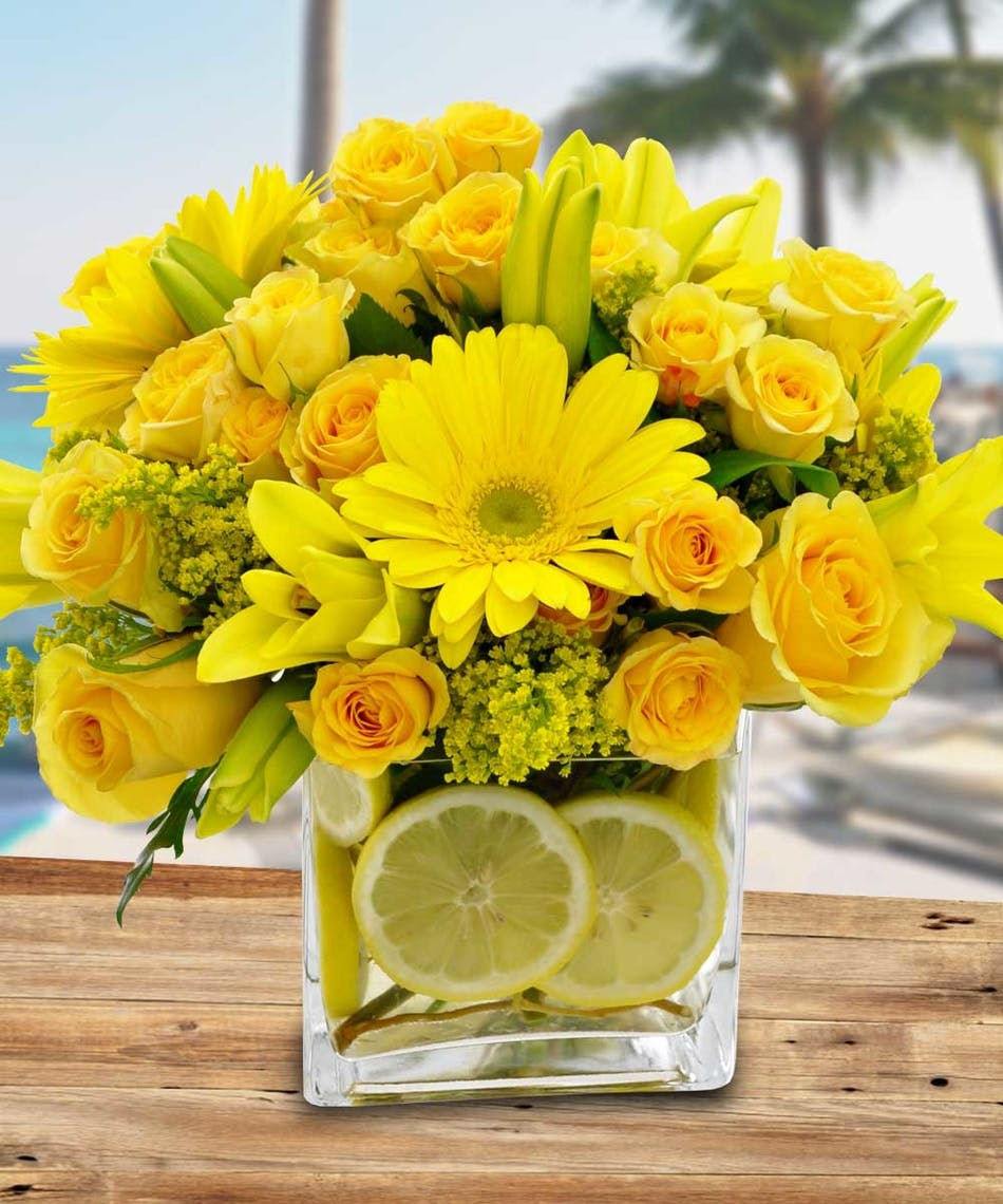 Citrus sunshine floral arrangements lemons calendar beneva brighten up their day with this sweet arrangement of yellow roses lilies gerbera daisies izmirmasajfo Choice Image