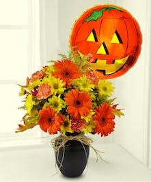 A charming autumn bouquet & mylar balloon!