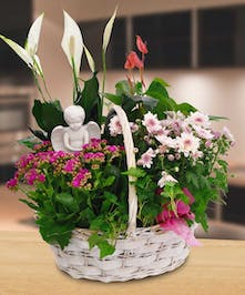"""Blooming plant basket with a keepsake angel!"