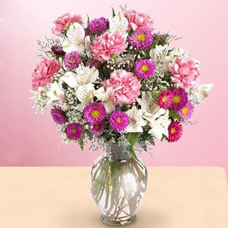 Precious baby girl bouquet new baby flowers beneva flowers give a new mom and baby girl this lovely bouquet of pink izmirmasajfo Choice Image