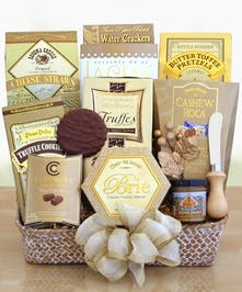 Send thanks and appreciation with this elegantly presented basket of treats.