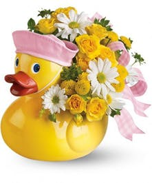 Welcome the new baby to the flock with flowers!