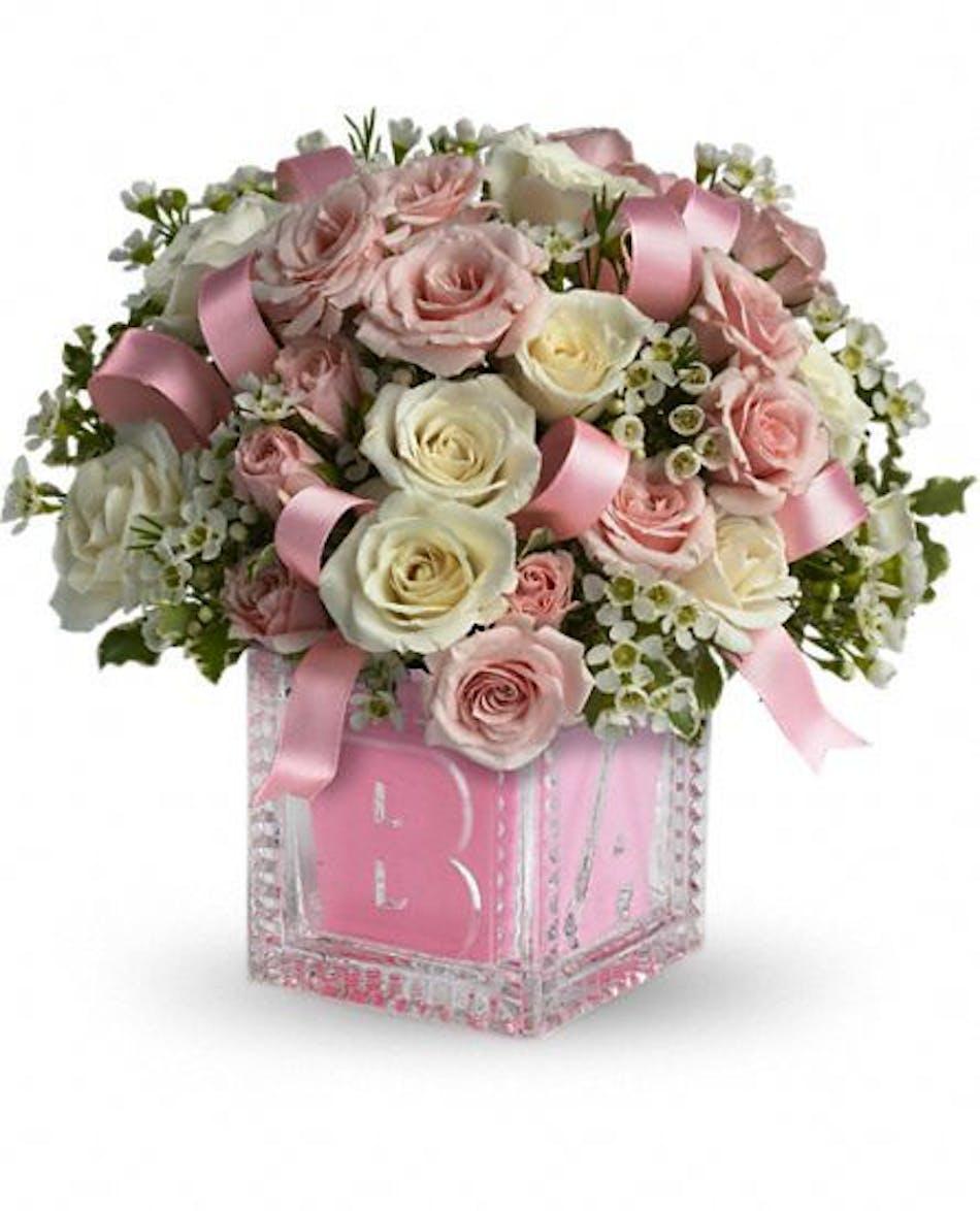 Baby Block For Girl New Baby Flowers Beneva Flowers Sarasota