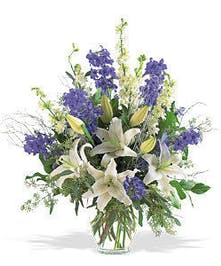 Nothing says it better than this bouquet of blue & white blooms.
