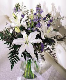 Celebrate Passover in style with this stunning bouquet of blues & whites