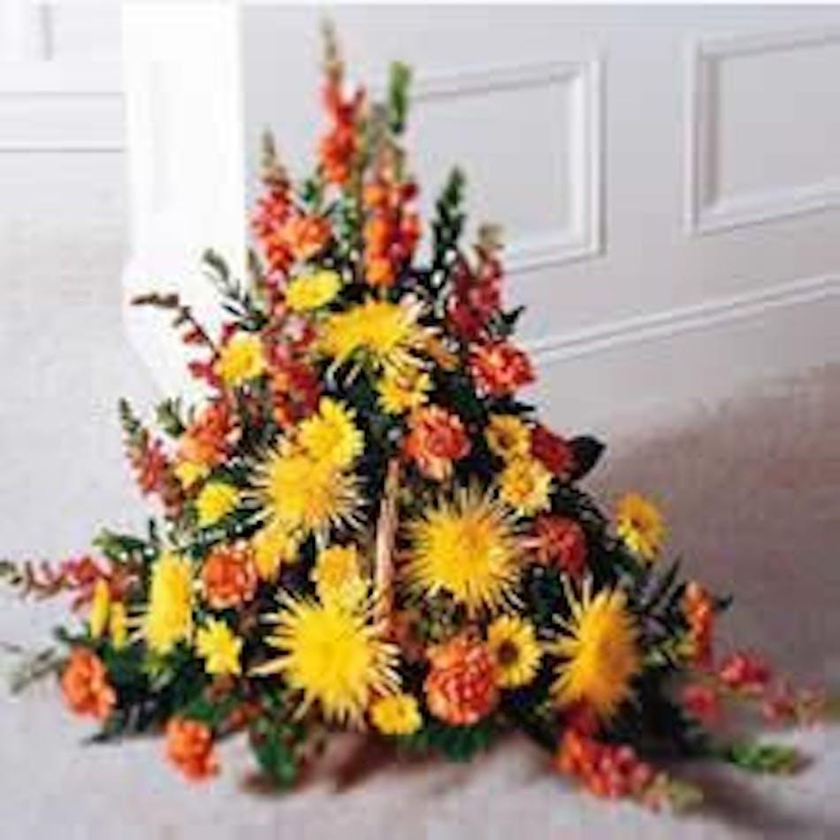 Traditional Fireside Basket Design Sympathy Funeral Flowers