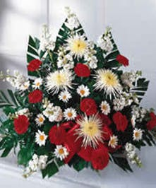 A traditional funeral basket of red & white blooms