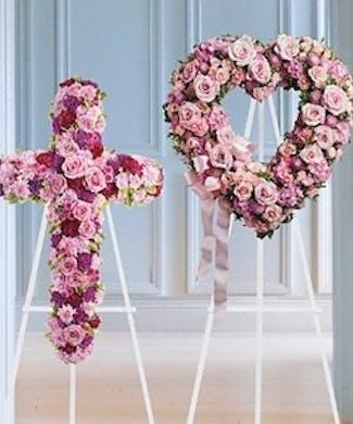 Matching Heart & Cross Funeral Spray Set